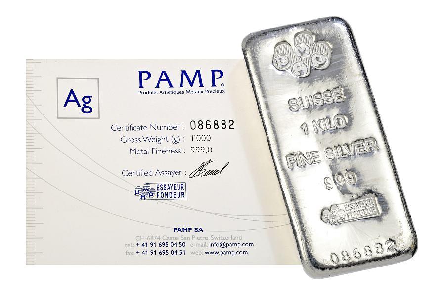 Pamp 1 Kg Silver Cast Bar 99 9 Pure C W Cert 1oz Fine