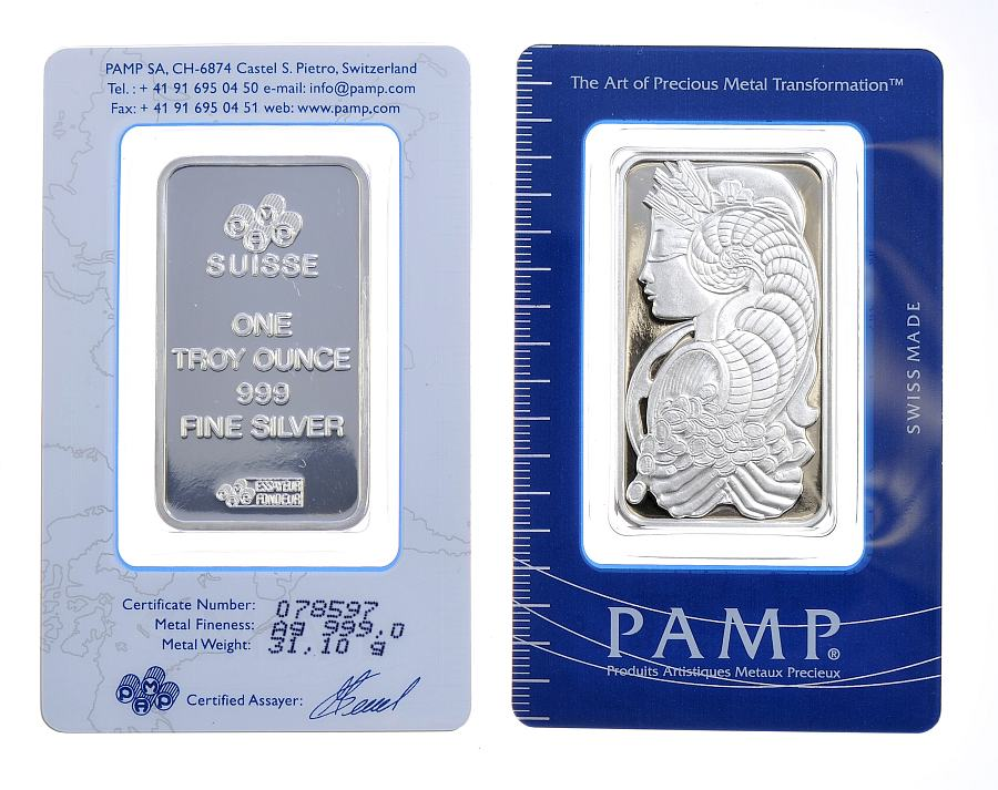 Pamp 1oz Silver Minted Bar Purity 99 9