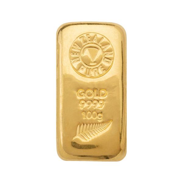NZ Pure 100 gm Gold Cast Bar 99.99 % Pure