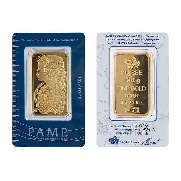 100g PAMP Minted Bar Gold