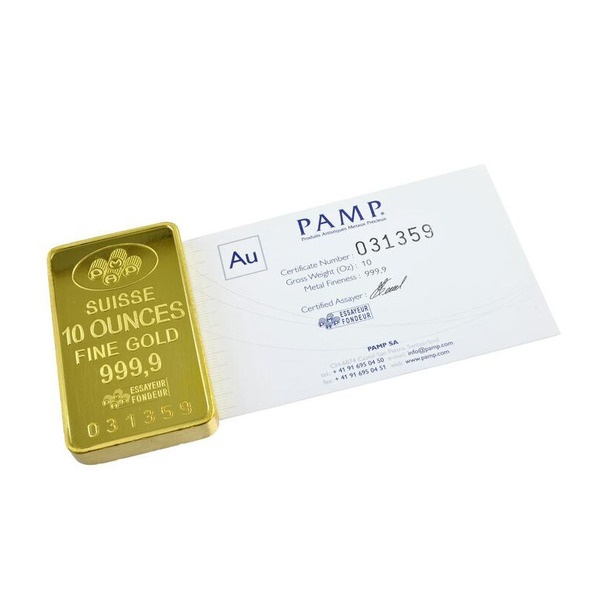 10oz PAMP Minted Bar Gold