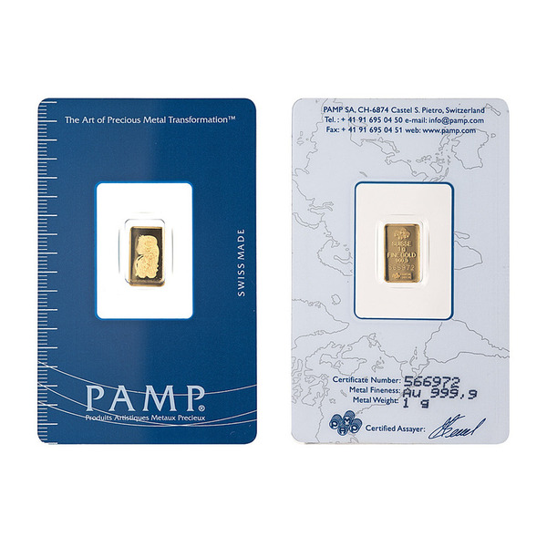 1gm PAMP Suisse Gold Minted Bar
