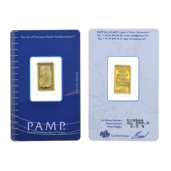 PAMP Suisse 2.5 Gram Gold Minted Bar 99.99% Pure complete with Certificate.