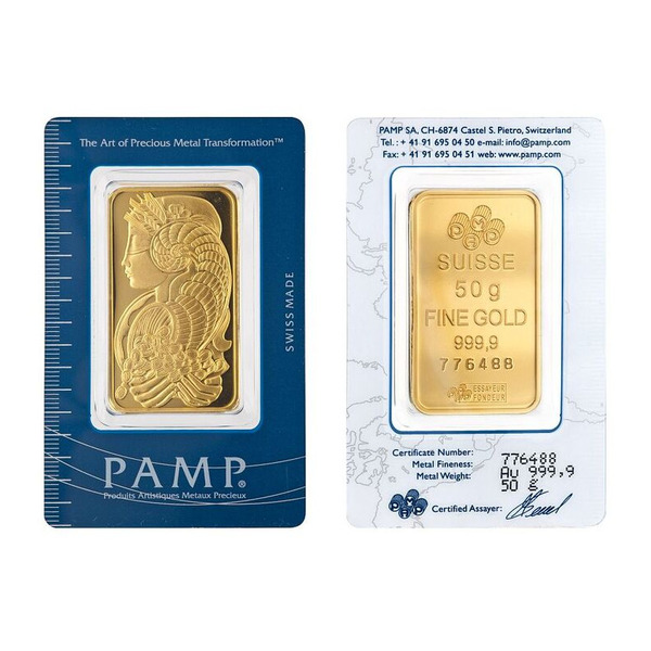 50g PAMP Minted Bar Gold