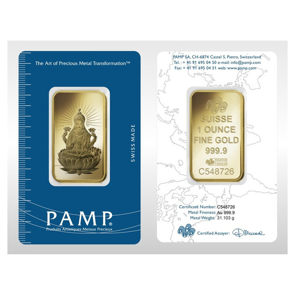 1oz PAMP Suisse LAKSHMI  Gold Bar