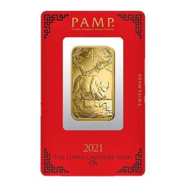 1oz PAMP GOLD Minted Lunar Ox 999.9