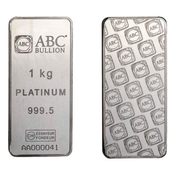 1000g ABC Bullion Platinum Minted  Bar