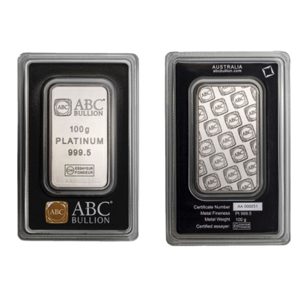 100g ABC Bullion Platinum Minted  Bar