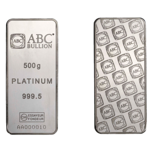 500g ABC Bullion Minted Platinum Bar 999.5