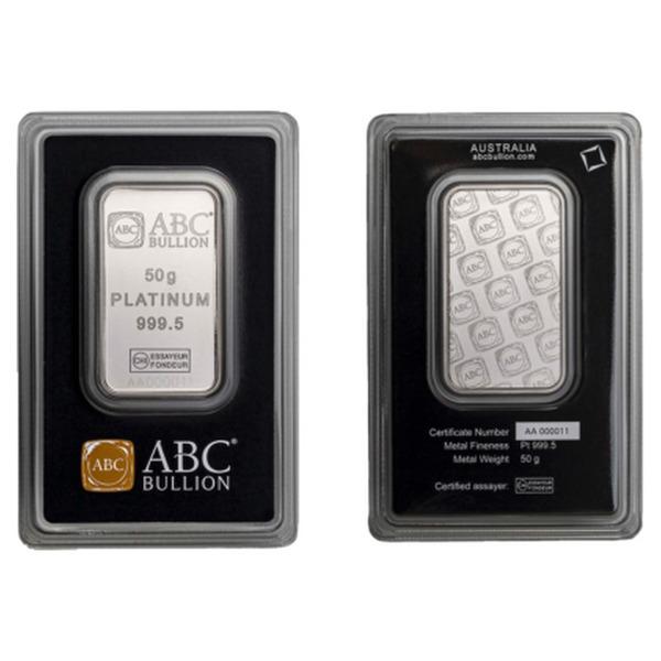 50g ABC Bullion Platinum Minted  Bar