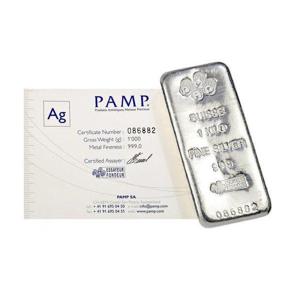 PAMP 1 Kg Silver Cast Bar 99.9% Pure c/w Cert